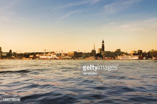 Hamburg Harbour City Skyline Sunset Scene