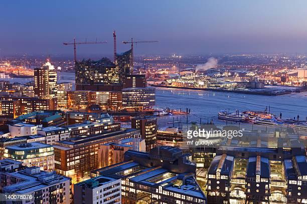 Puerto de Hamburgo, Elba Filarmónica Hall, paisaje de la ciudad
