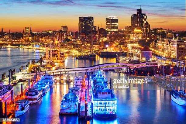 Hamburg Harbour, Elbe River by night