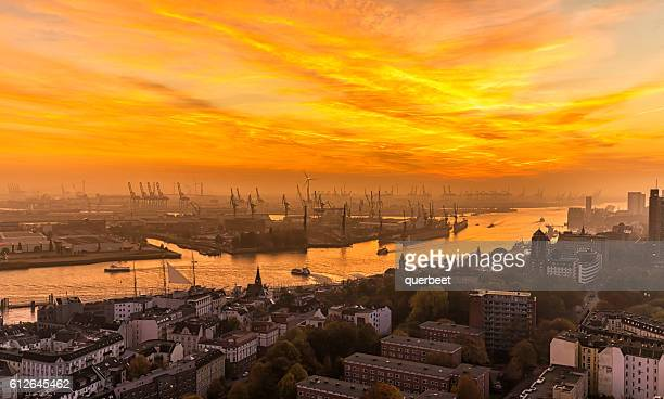 Hamburg Industrial Harbor at sunset
