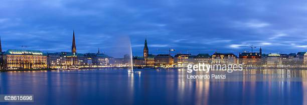 Hamburg skyline and fountain in the Lake Binnenalster