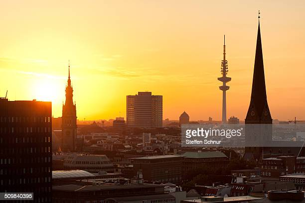 Hamburg skyline sunset