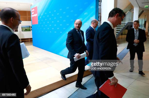 Hamburg SPD's mayor Olaf Scholz the Social Democrats Party party leader and candidate for Chancellery Martin Schulz and the SPD's vicechairman...