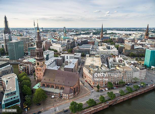 Hamburg Speicherstadt and Hafencity aerial view