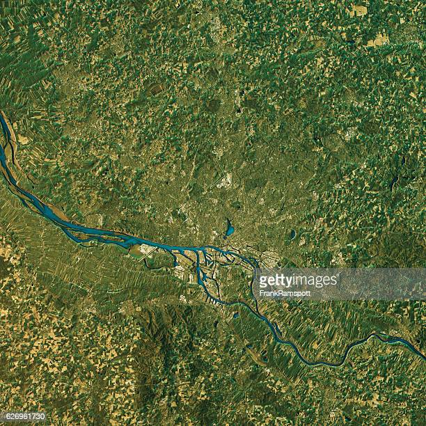 Hamburg Topographic Map Natural Color Top View