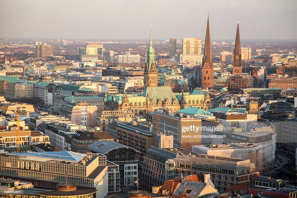 Hamburg town hall and churches from St.Michaelis