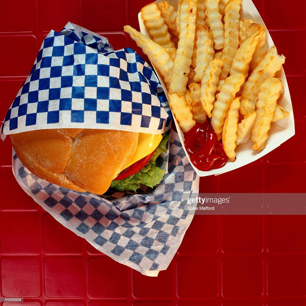 Hamburger and French Fries : Stock Photo