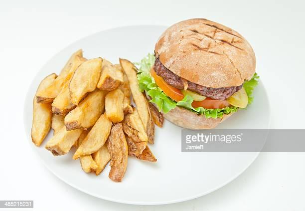 Hamburger and wedge cut fries