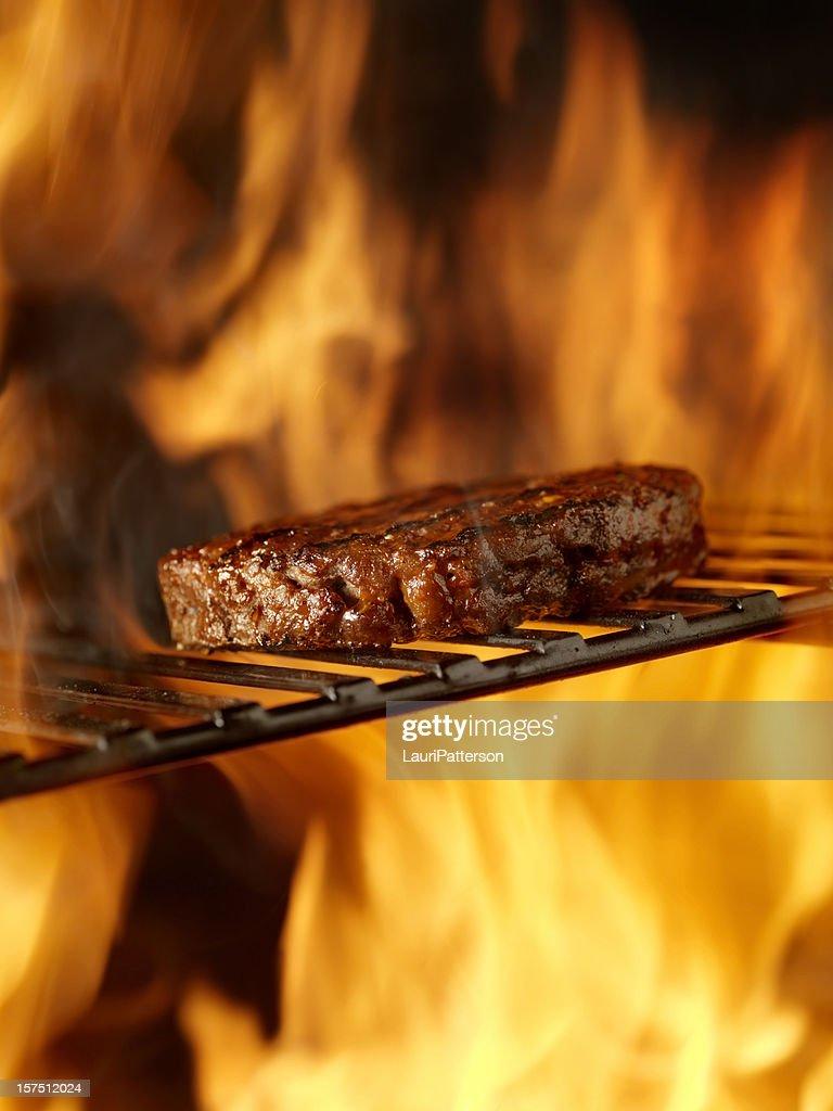 BBQ Hamburger on the Grill : Stock Photo