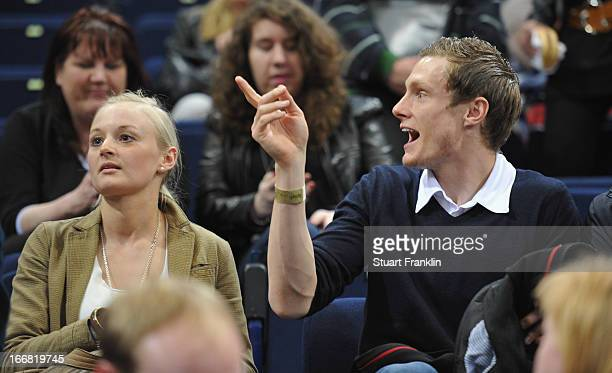 Hamburger SV footballer Marcell Jansen watches during the DKB Bundesliga handball game between HSV Hamburg and TUSEM Essen at O2 World on April 17...