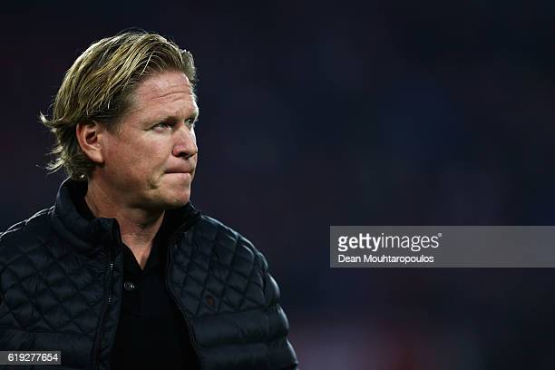 Hamburger SV Head coach / manager Markus Gisdol looks on prior to the Bundesliga match between 1 FC Koeln and Hamburger SV at RheinEnergieStadion on...
