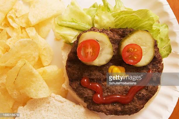 Hamburger avec une drôle de tête