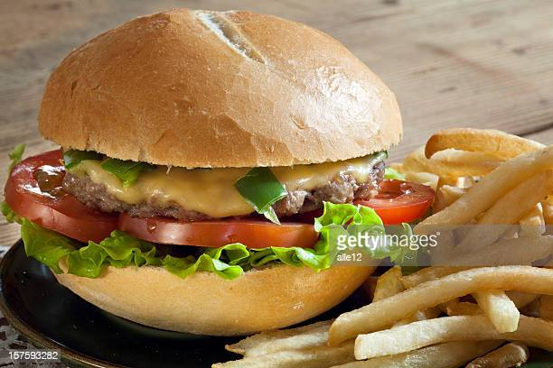 Hamburger with french fries.
