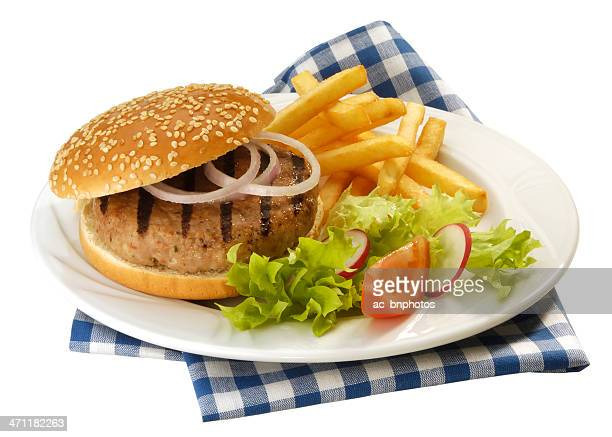 Hamburger with French fries(clipping path)