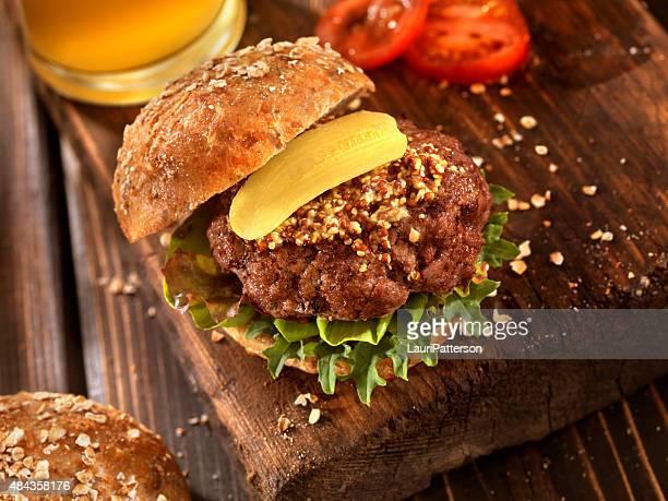 Hamburger With Micro Greens, and a Beer
