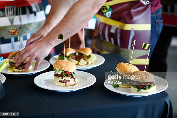 Hamburgers are displayed for judging following a burger making competition during the ITM Cup season launch at Western Springs Stadium on August 5...