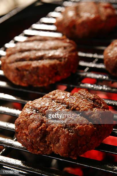 Hamburgers on Barbecue Grill