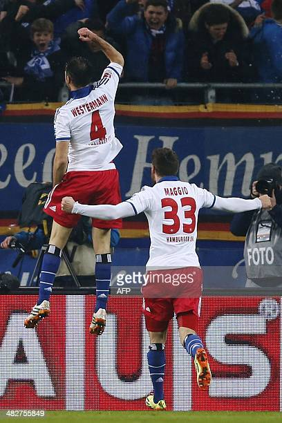 Hamburg's defender Heiko Westermann celebrates scoring during the German first division Bundesliga football match Hamburger SV vs Bayer Leverkusen in...