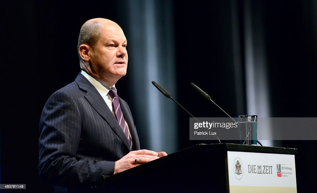 Hamburgs first mayor Olaf Scholz speaks at a celebration hosted by Die Zeit newspaper on the occasion of Schmidt's 95th birthday at the Thalia theater on January 19, 2014 in Hamburg, Germany. Schmidt, a Social Democrat (SPD), was Chancellor of West Germany from 1974 to 1982.