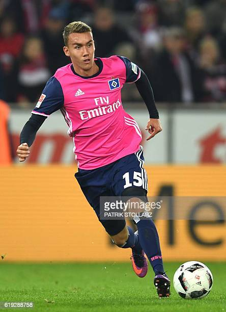 Hamburg's forward Luca Waldschmidt plays the ball during the German first division Bundesliga football match between 1 FC Cologne and Hamburger SV in...