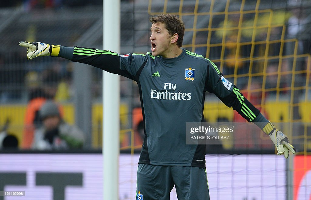 Hamburg's goalkeeper Rene Adler reacts during the German first division Bundesliga football match Borussia Dortmund vs Hamburger SV in Dortmund, western Germany, on February 9, 2013. Hamburg won 1-4.