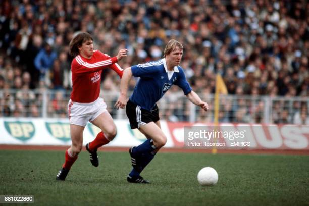 SV Hamburg's Horst Hrubesch gets away from Bayern Munich's Klaus Augenthaler