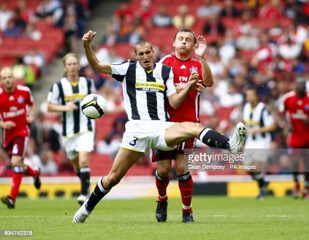 Hamburg's Ivica Olic and Juventus' Giorgio Chiellini battle for the ball