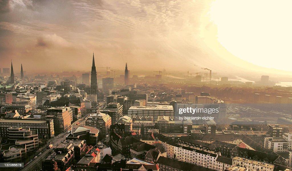 Hamburgs Skyline : Stock Photo
