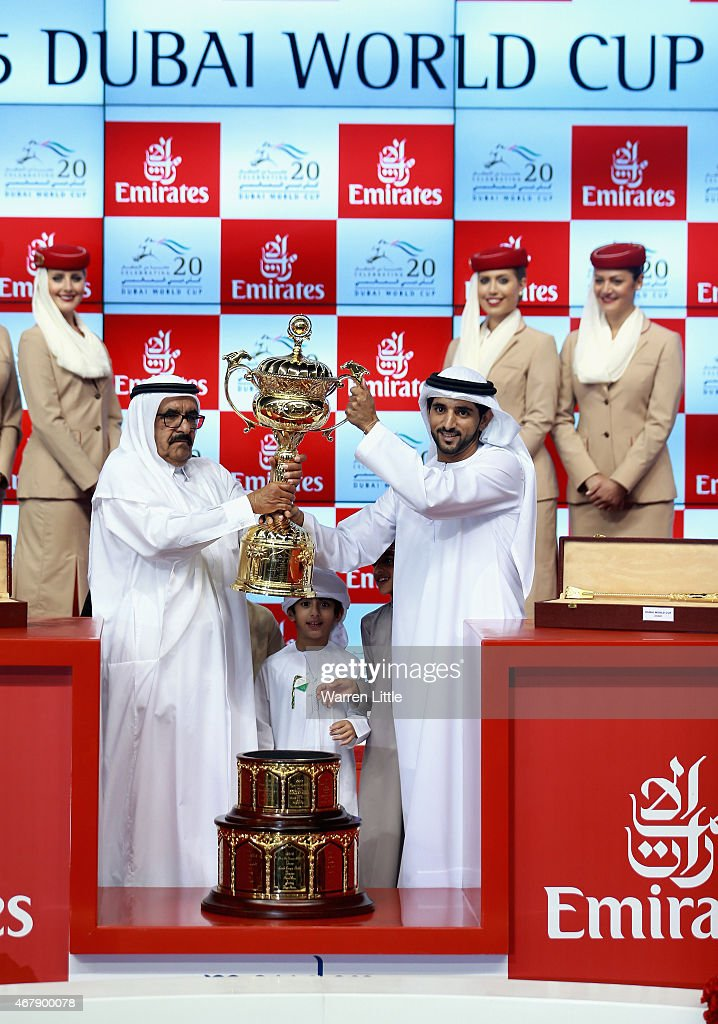 Hamdan bin Rashid Al Maktoum, Deputy Ruler of Dubai and the Minister of Finance and Industry and Hamdan bin Mohammed bin Rashid Al Maktoum, Crown Prince of Dubai celebrate winning the Dubai World Cup after Prince Bishop ridden by William Buick is victorious at the Meydan Racecourse on March 28, 2015 in Dubai, United Arab Emirates.