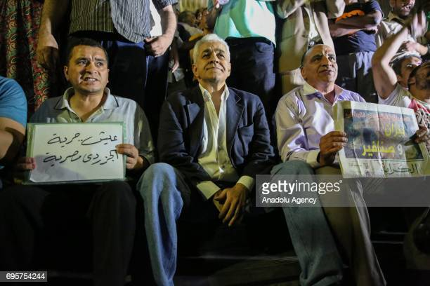 Hamdeen Sabahi former presidential candidate and journalist attends a protest that staged against approval of a maritime border demarcation agreement...