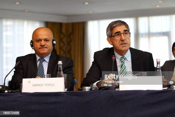 Hamdi Topcu Chairman of Turkish Airlines and Jordi Bertomeu CEO Euroleague Basketball during the Euroleague Basketball ECA Shareholders Executive...