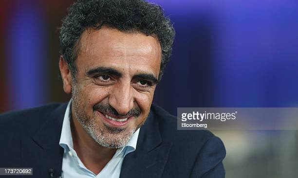 Hamdi Ulukaya a billionaire and founder president and chief executive officer of Chobani Inc speaks during a Bloomberg television interview in London...