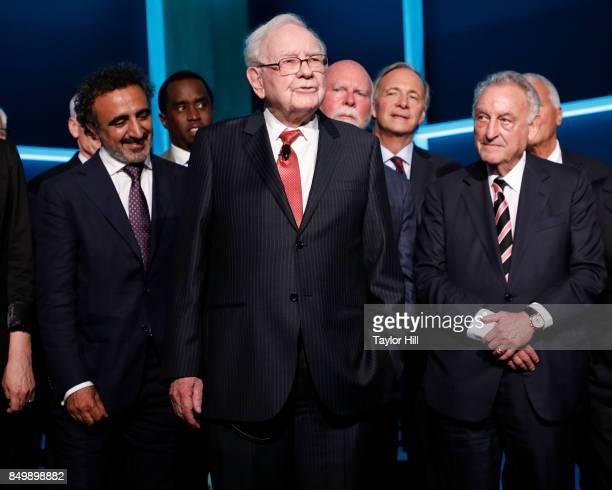 Hamdi Ulukaya Sean Combs Warren Buffett Craig Venter Ray Dalio and Sandy Weill attend the Forbes Media Centennial Celebration at Pier 60 on September...