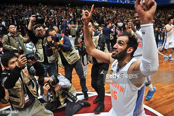 Hamed Haddadi of Sichuan Blue Whales celebrates victory after the Chinese Basketball Association 15/16 season playoff final match between Sichuan...