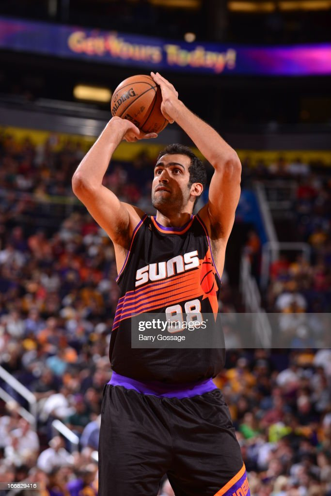 <a gi-track='captionPersonalityLinkClicked' href=/galleries/search?phrase=Hamed+Haddadi&family=editorial&specificpeople=5544688 ng-click='$event.stopPropagation()'>Hamed Haddadi</a> #98 of the Phoenix Suns shoots a foul shot against the Los Angeles Lakers on March 18, 2013 at U.S. Airways Center in Phoenix, Arizona.