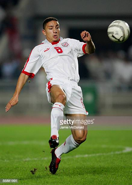 Hamed Namouchi of Tunisia is seen in action during the World Cup 2006 African group 5 qualifying soccer match between Tunisia and Morocco at the...