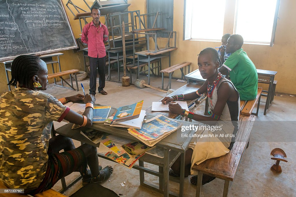 Hamer tribe teenage boys in classroom with their teacher omo valley turmi Ethiopia on March 16 2016 in Turmi Ethiopia