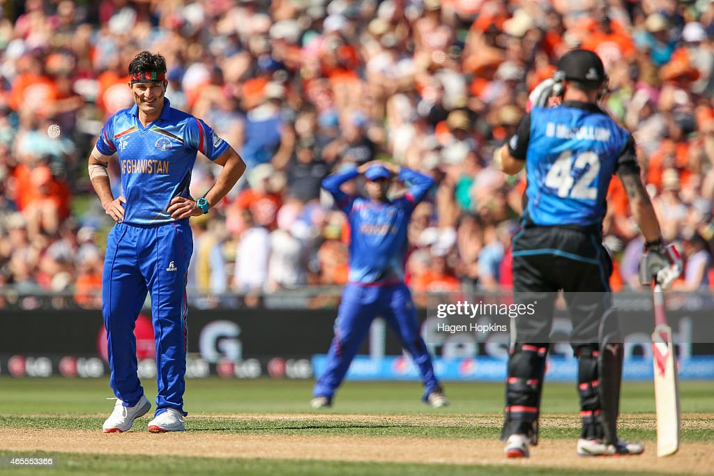 Hamid Hassan of Afghanistan reacts after bowling a delivery to Brendon McCullum of New Zealand during the 2015 ICC Cricket World Cup match between New Zealand and Afghanistan at McLean Park on March 8, 2015 in Napier, New Zealand.