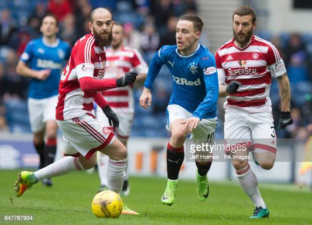 Hamilton Academical's Georgios Sarris and Blair Adams combine to challenge Rangers Barrie Mckay during the Scottish Cup Quarter Final match at the...