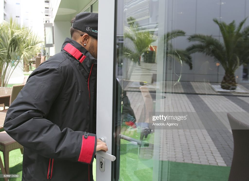 L. Hamilton arrives for the Formula One Grand Prix of Russia at Sochi Autodrom in Sochi, Russia on May 01, 2016.