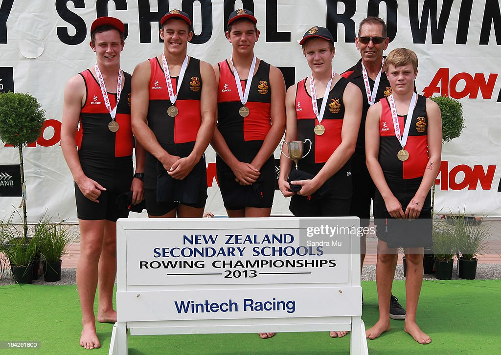 Hamilton Boys High pose after winning the boys U16 coxed four final during day five of the Maadi Cup at Lake Karapiro on March 22, 2013 in Cambridge, New Zealand.