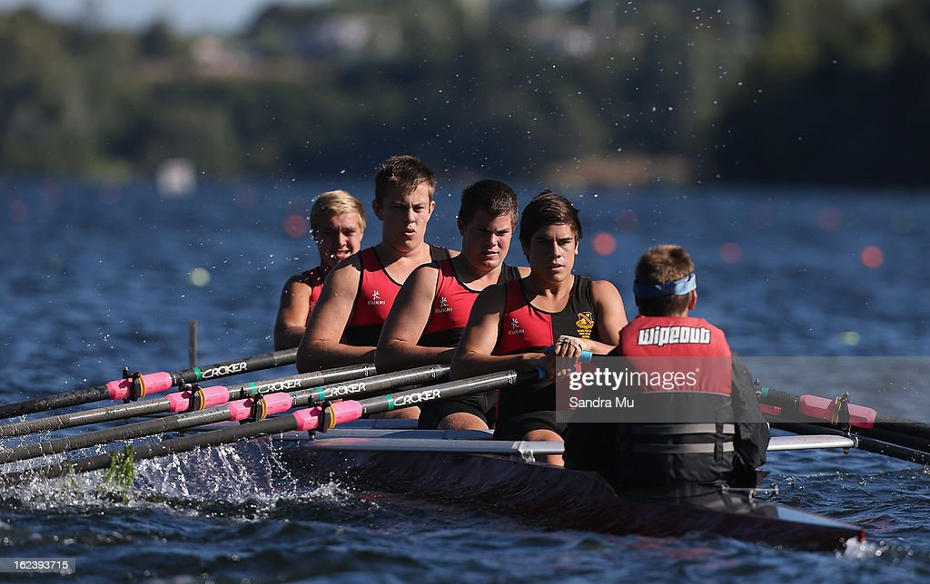 Hamilton Boys High race in the Boys U16 coxed quad during the New Zealand Junior Rowing Regatta on February 23, 2013 in Auckland, New Zealand.