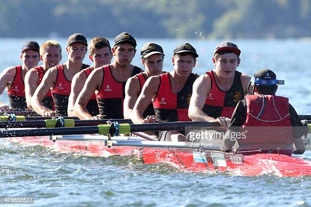 Hamilton Boys High School U18 eights during the Mighty River Power Regatta at Lake Karapiro on March 1 2014 in Cambridge New Zealand