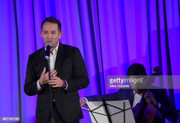 Hamilton Cast LA and Chicago/Gold Star Family Joseph Morales performs at the Headstrong Gala 2017 at Pier 60 Chelsea Piers on October 16 2017 in New...