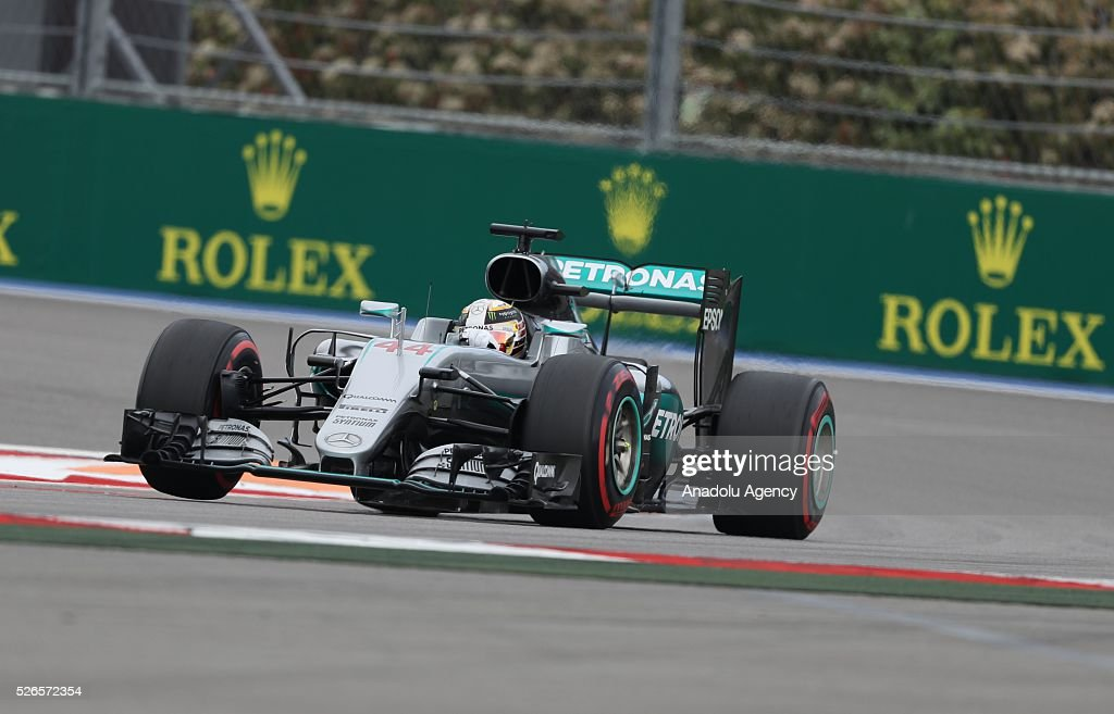 L. Hamilton is seen on track during the qualifying session of the Formula One Russian Grand Prix at the Sochi Autodrom circuit in Sochi, Russia on April 30, 2016.