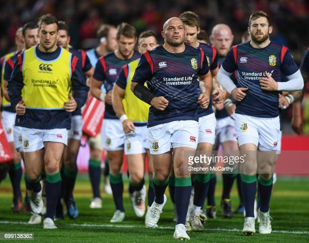 Hamilton New Zealand 20 June 2017 British and Irish Lions captain Rory Best leads his side back to the changing rooms prior to the match between the...