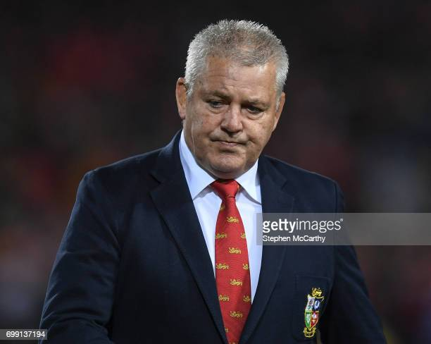 Hamilton New Zealand 20 June 2017 British Irish Lions head coach Warren Gatland during the match between the Chiefs and the British Irish Lions at...
