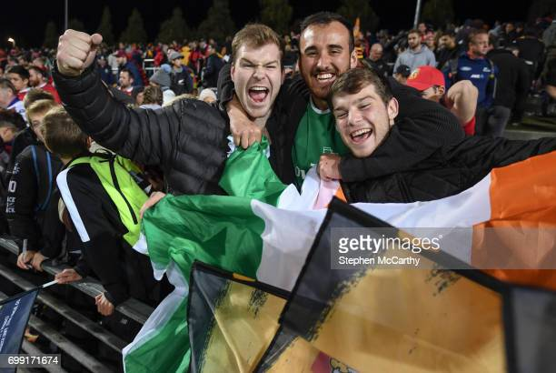 Hamilton New Zealand 20 June 2017 Jack Dineen left with Rory Moloney and Charlie Dineen right following the match between the Chiefs and the British...