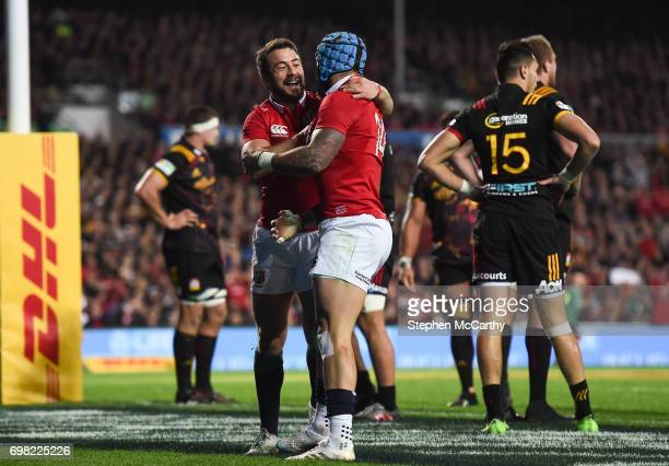 Hamilton New Zealand 20 June 2017 Jack Nowell is congratulated by his British and Irish Lions teammate Greig Laidlaw left after scoring his side's...