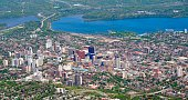 'panorama aerial view of downtown Hamilton, Ontario Canada'